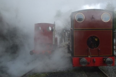 No. 5 appears out of the steam ...
