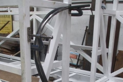 By the end of the day, two vestibule handrails have been curved to profile, and the securing brackets for one has been clamped to the body frame of carriage No. 24 …