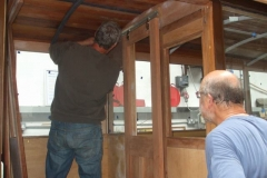 27.8.2019 Meanwhile, in the Carriage Shed, Peter and Charles (with assistance from Dick) have added more glass to carriage No. 23 and hung the vestibule doors.