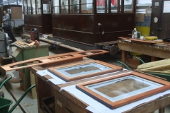 Meanwhile, a coat of priming varnish has been applied to the drop windows and inside top end panels for carriage No. 23.