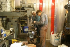 … and back in the Engine Shed, Bob works with Steve in setting up the mill for machining axleboxes.