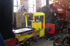 Tuesday, 29.3.16. No. 9 is stabled in the Engine Shed in anticipation of the delivery of its new batteries …