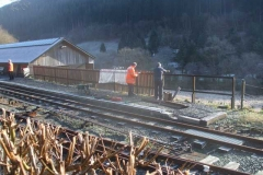 Sunday, 25.3.2018. Richard and John have been adding palings to extend the fence at the rear of the South Platform at Maespoeth …