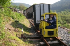 Meanwhile, Dave is shunting other stock in the Carriage Shed to form trains for later in the day – the first practical use of Battery Electric loco No. 9.