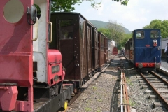 No. 6 brings the (full) passenger carriages back to Maespoeth, by which time No. 5 has assembled a short train, and No. 7 is ready to drop down onto the carriages, ready to …