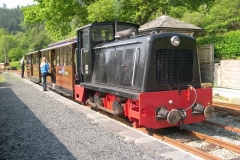 Soon, No. 11 is coupled to the passenger carriages (another first! ) to take the first passenger train (ecs) up to Corris as No. 6's repairs had only just been completed ...
