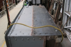 """The first of the replacement sheet steel panels on the """"Queen Mary"""" waggon body has been tacked in place …"""