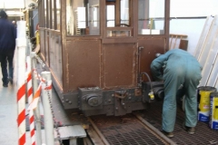 Adjacent, Bob starts to remove the old buffers from carriage No. 20 …