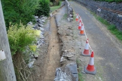 Thursday, 26.7.2018 (Corris Station Project). A start has been made on this project, with the demolition of a section of the School wall and the excavation of a foundation trench …