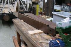 … varnishing timber for a platform bench ...