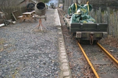 … who had previously been filling pots in the North platform edge wall with concrete.