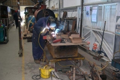 Meanwhile, new to the Tuesday Gang, Adrian is welding in the Carriage Shed …