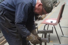 """Friday, 2.7.2021. Adrian has been welding up material support stands (to Phil's design) to go with the """"new"""" power hacksaw."""