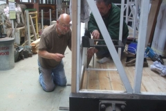 Meanwhile, Charles and Mark (amongst others) have nearly finished bolting down floorboards to the frames of carriage No. 24 …
