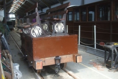 With wheels and brakes sorted and the body bolted down, the west road of the Carriage Shed is largely emptied of rolling stock, and two of the platform benches repaired by Tony are loaded into Heritage Waggon No. 5 for its first run out of the shed as a complete entity …