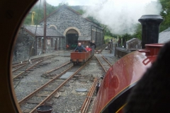 … the three waggon gravity train arrives in Maespoeth yard …