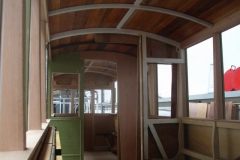 By the end of the weekend, almost all the timber sections around the windows and above the saloon ends have been fitted …