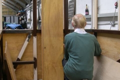 … and is measuring up for panelling inside carriage No. 23 …