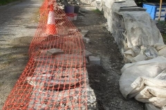 … and in Corris, the new walling of the school boundary for the station project, is progressing.