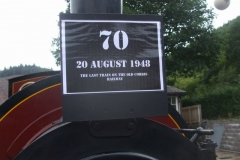To commemorate 70 years since the last train ran on the original Corris Railway, No. 7 carried a Special headboard …