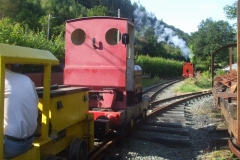 No. 7 delivers No. 5 to Tony, so that he can push No. 5 into the Carriage Shed with No. 9.