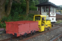 ... but first - after setting up a ramp - the ex-Corris Mail Waggon has to be delivered to the sheds with No. 9 ...