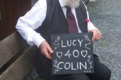 ... followed on another train by the Ruby Wedding Anniversary of Lucy and Colin, but we have no appropriate headboard so we adapt a blank one to suit ...