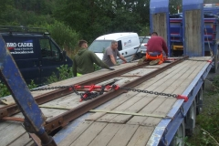 ... onto which is loaded a low profile track panel, duly strapped down ...