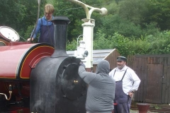 ... while the crew are watering the loco.