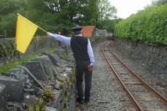 … while at Corris, Bill flags in No. 6 with a train of vans …
