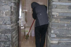 …as Bill mops out the Maespoeth toilets!