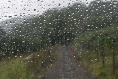 It is very wet – as seen from the cab of the loco …