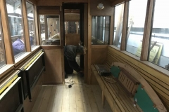 … while Pete sands the floor in carriage No. 23 …