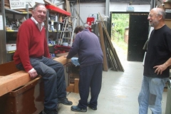 Dick lends his weight to waggon frame manufacture in the Carriage Shed …