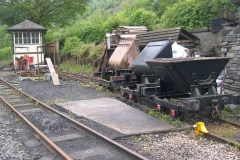 """Tuesday, 27.5.14. The Tuesday gang have shunted stock around at Maespoeth in preparation for the forthcoming visit of the TR """"Tracksiders"""" …"""