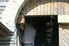 Infill planks are removed to give nesting birds access to the Engine Shed …