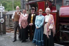 Victorian ladies and gentlemen in charge of the activities. Jane, Jim Goodband and Kate flanked by Geoff and Sue Dunn.