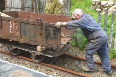 … to recover the drop side waggon body from the North Platform for work to commence on the waggons restoration. Adrian (or should that be Brian Rix) pushes the assemblage until stopped by his trousers falling down