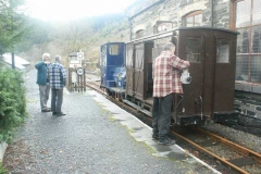A short train is prepared to collect Santa items stored in Corris.
