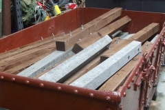 A number of fence post assemblies have been stored in one of the Heritage waggons.