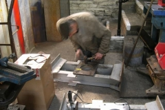 … before Steve checks the fit of a bolster pivot plate …