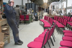 … just as the chairs for the Machynlleth Comedy Festival have been set out in a cleared space within the Carriage Shed.