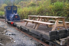 The train has returned from up the line, and the picnic tables are moved to the Carriage Shed for winter storage.