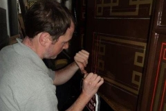The carriage doors are being lined out. Fascinating to watch, its a real art form.