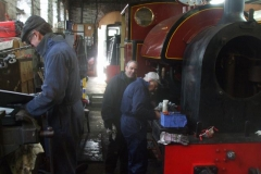 Saturday, 2.2.2019. A busy scene in the Engine Shed at Maespoeth, as Graham does a cold test on No. 7's boiler, and Trefor and Dave check the slippers …
