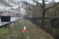 Southern Extension Project. Pont Evans. Saturday, 2.2.2019. The scene today, looking north after the trees on the hillside above the road have been clear felled …