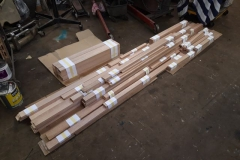 The timber to make the cladding sections for carriage 24 has been in stock for a while, now most of it has been cut to length and bundled up by part number for sharing out between me (Andy) Ian and Bill for shaping & gluing up before taking to Maespoeth.
