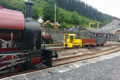 ...while No. 9, Aberleffenni, couples up to two heritage waggons...
