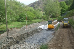 Friday, 5.6.2020. By evening, the gabion wall filling has advanced further – about a week's work still to go!