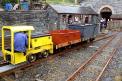 Battery loco No. 9 shunts waggons in Maespoeth Yard.